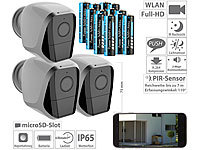 VisorTech 3er-Set Full-HD-IP-Überwachungskameras, 12 Monate Stand-by, 24 Akkus